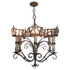 Renaissance Revival Iron Six Arm Chandelier