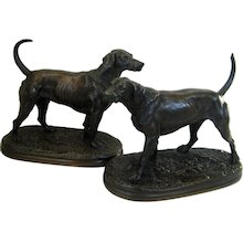 Pair of Bronze Hunting Dogs, Salverte and Vampire by Arthur Waagen 1833 -1898.