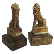 Chinese Glazed Joss Stick Holder Dogs of Fo Lion Mounted as Bookends