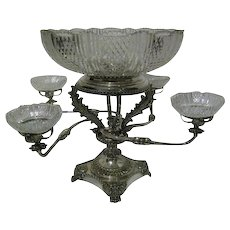 English Sheffield Fused Plate Four Arm Epergne Centerpiece