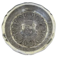Large Spanish Colonial Silver Basin Bowl Repousse Family Crest