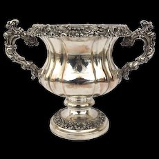 English Old Fused Sheffield Wine Cooler Champagne Bucket Engraved Crest Armorial
