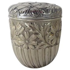19th Century Sterling Lidded Box Caddy by Gorham Repousse