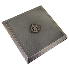 Sterling Rose Gold Cigarette Case by Adie Bros. England Crest Engine Turning Deco c 1936