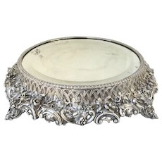 19th Century Footed English Sheffield Plateau with Bevel Mirror