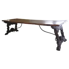 Large Spanish Walnut Trestle Table Country Iron Supports