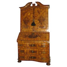 Italian South German Walnut Bureau Cabinet Desk Slant Front Secretaire c 1740