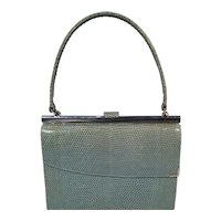Vintage Asprey Blue Lizard and Sterling Silver Racing Handbag