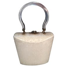 Ivory and Clear Mid-Century Lucite Handbag