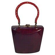 Tortoise Lucite Mid-Century Handbag