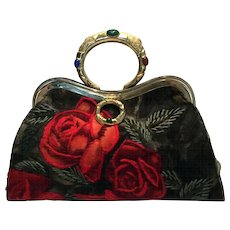 Vintage Handbag, Velvet with Bracelet Handle