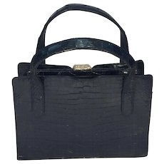 Vintage Black Alligator Bag 1970's