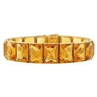 Art Deco French 18kt Gold Citrine Link Bracelet