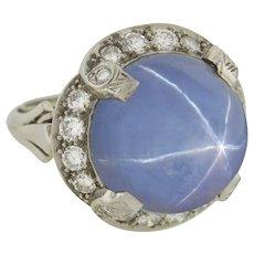 Late Art Deco 12ct Star Sapphire & Diamond Ring