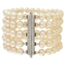 Estate 18kt Cultured Pearl & Diamond 5-Strand Bracelet