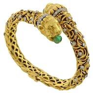 ZOLOTAS Vintage Emerald & Diamond Gold Lion Bracelet