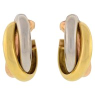 Cartier Contemporary 3-Tone Trinity Hoop Clip Earrings