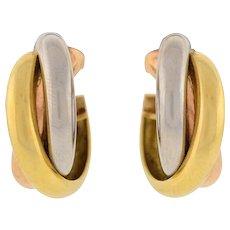 Cartier Contemporary 3-Tone Trinity Hoop Clip Earrings