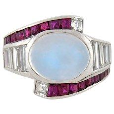 Retro Platinum Moonstone, Diamond & Ruby Ring