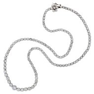 Contemporary Platinum Diamond Riviera Necklace 13.75ctw