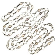 CHARLES KRYPELL Sterling Fresh Water Pearl Necklace 80""