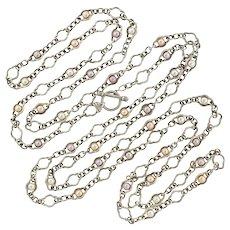 "CHARLES KRYPELL Sterling Fresh Water Pearl Necklace 80"""