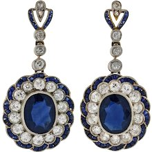Edwardian Natural Sapphire & Diamond Earrings 5.00ctw