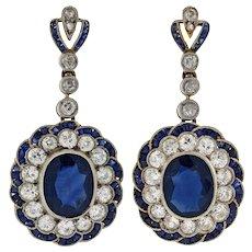 Edwardian Natural Sapphire & Diamond Earrings 5.00ctw