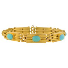 Victorian French 18kt Expandable Gate Link Turquoise Bracelet