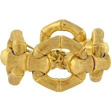 Contemporary Italian 18kt Gold Reversible Bamboo Link Bracelet 107.2G