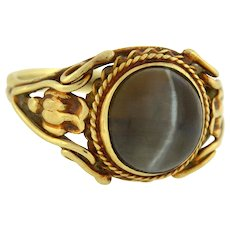Art Nouveau 14kt Cat's Eye Chrysoberyl Ring