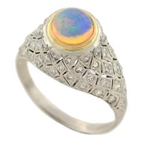 Art Deco Platinum Opal & Diamond Domed Ring