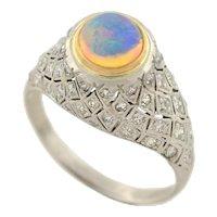 Art Deco Platinum Opal & Diamond Domed Ring