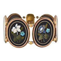 Victorian 18kt Floral Pietra Dura Link Bracelet