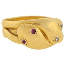 Victorian 18kt Diamond & Ruby Snake Ring