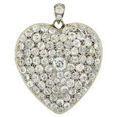 Edwardian Large Platinum Pave Diamond Heart Locket 10ctw