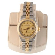 Pre-Owned 1995 Ladies Two Tone Datejust With Champagne Roman Dial With Fluted Bezel Jubilee Band Model# 69173 PRICE - $3200.00