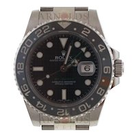 Pre-Owned 2012 Stainless Steel Rolex GMT Master II Watch With Black Index Dial And Black Ceramic Bezel With New Style Oyster Band Model# 116710  PRICE - $6800.00