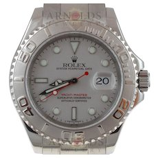 Pre-Owned 1999 Rolex Yachtmaster Watch Stainless Steel With Platinum Dial and Platinum Bezel With Oyster Band Model 16622  PRICE - $6200.00