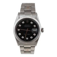 Pre-Owned 1984 Rolex Datejust Watch Stainless Steel With Black Diamond Dial and Engine Turn Bezel With Oyster Band Model 16030  PRICE - $3300.00