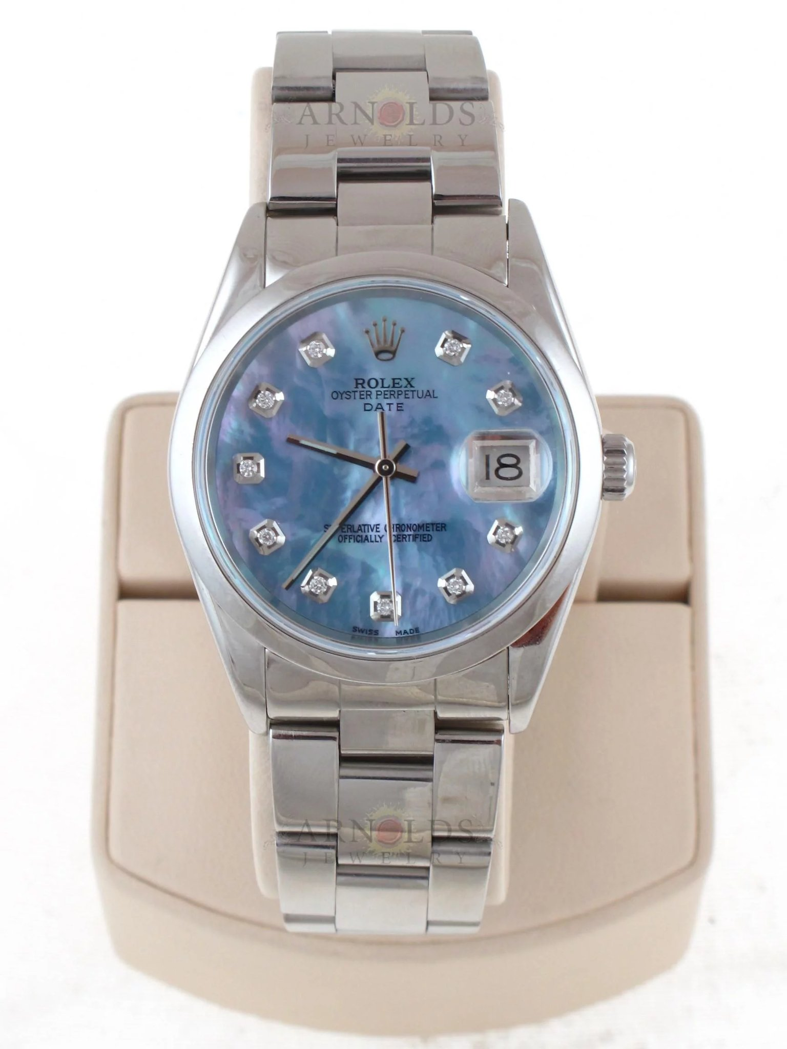 Pre Owned 2003 Rolex Stainless Steel Date 34mm Watch With