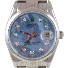 Pre-Owned 2003 Rolex Stainless Steel Date 34mm Watch With Blue Mother Of Pearl Diamond Dial and Smooth Bezel With Oyster Band Model# 15200  PRICE - $4300.00