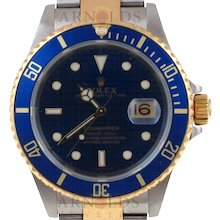 Pre-Owned 2003 Rolex Submariner Watch Two Tone With Blue Dial and Blue Bezel With Oyster Band Model 16613  PRICE - $7500.00