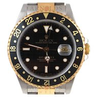 Pre-Owned 1991 Rolex GMT Master II Watch Two Tone With Black Dial and Black Bezel With Oyster Band Model 16713   PRICE - $6000.00