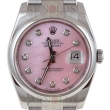 Pre-Owned 2007 Rolex Stainless Steel Datejust 36mm Watch With Pink Mother Of Pearl Diamond Dial and Smooth Bezel With New Style Oyster Band Model# 116200   PRICE - $5500.00
