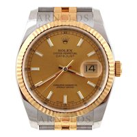 Pre-Owned 2014 Two Tone Rolex Datejust Watch With Champagne Index Dial And 18kt Yellow Gold Fluted Bezel With New Style Jubilee Band Model# 116233   PRICE - $7200.00