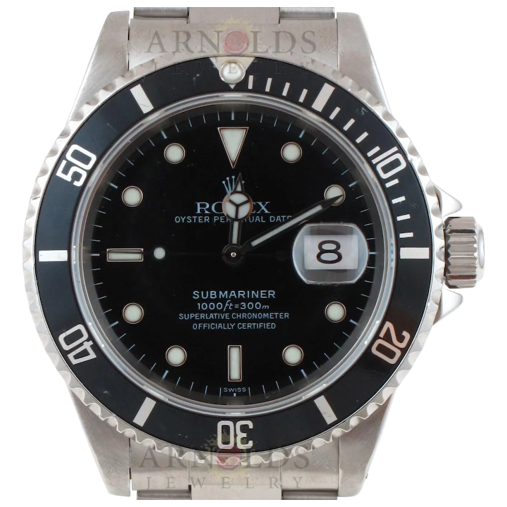 Pre Owned 1997 Rolex Submariner Watch Stainless Steel With Black