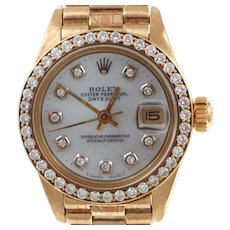 Pre-Owned 1982 Ladies Rolex Datejust (President) 18kt Yellow Gold With Mother Of Pearl Diamond Dial and Diamond Bezel Model 6917  PRICE - $6500.00