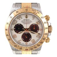 Pre-Owned 2008 Rolex Two Tone Daytona Watch With White Arabic Panda Dial With Oyster Band Model# 116523   PRICE - $12,500.00