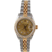 Pre-Owned 1986 Ladies Two Tone Datejust Watch With Champagne Diamond Dial And Diamond Bezel With Jubilee Band Model# 69173   PRICE - $3000.00